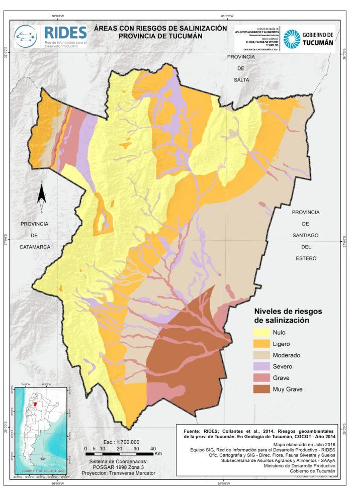 Imagen del Mapa de Áreas con riesgo de salinización. Prov. de Tucuman