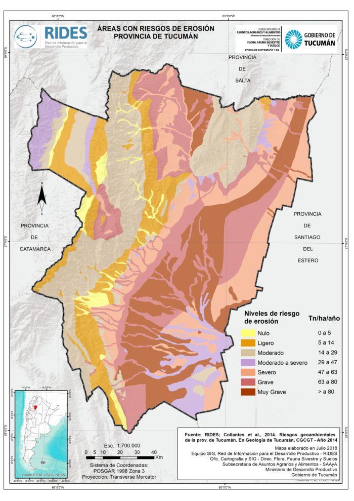 Imagen del Mapa de Áreas con riesgo de erosión. Prov. de Tucumán
