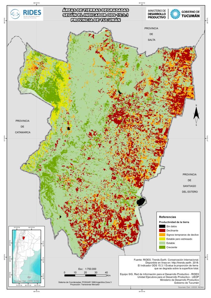 Imagen del Mapa de Áreas de tierras degradadas según el indicador ODS 15.3.1
