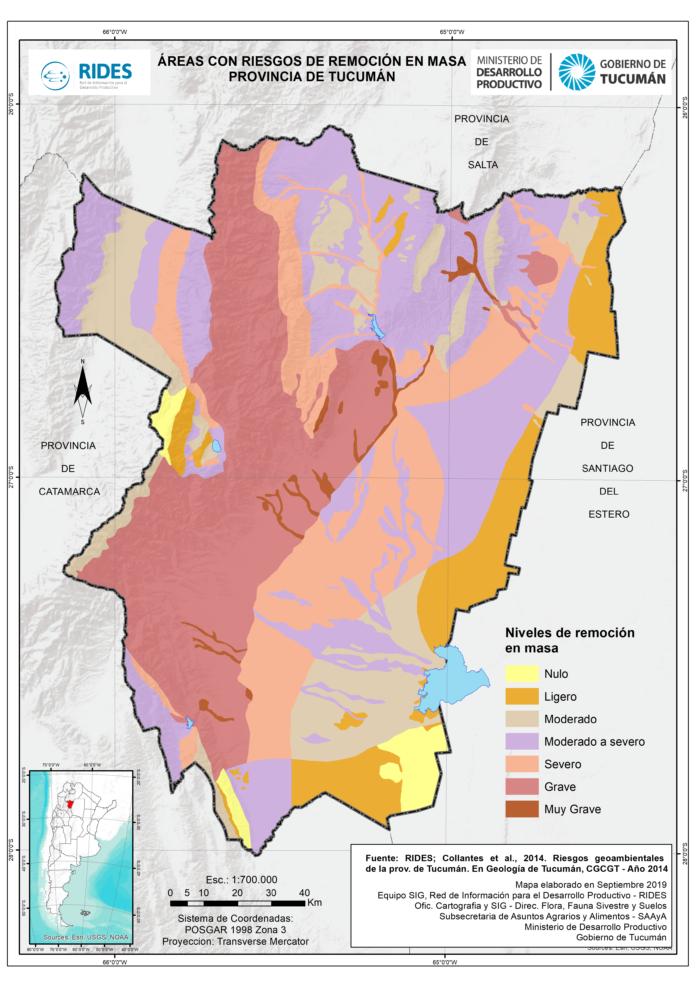 Imagen del Mapa de Áreas con riesgo de remoción en masa. Prov. de Tucumán