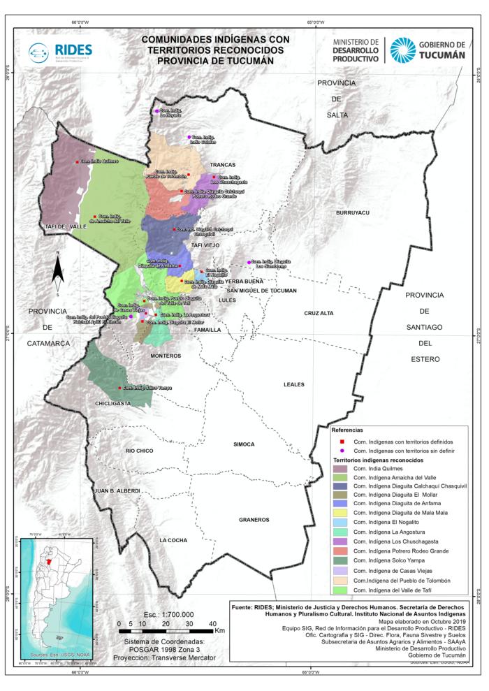 Imagen del Mapa de Comunidades Indígenas con territorios reconocidos. Prov. de Tucumán